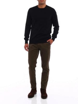 Fay: crew necks online - Lightweight black wool sweater