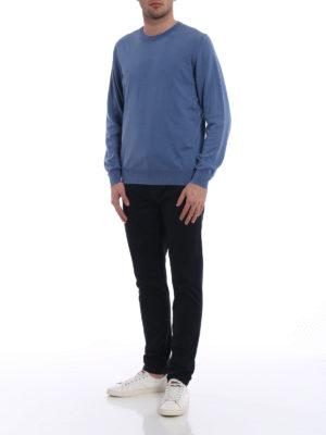 Fay: crew necks online - Lightweight cotton blue crewneck