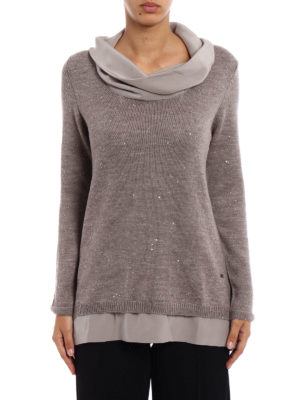 Fay: crew necks online - Silk inserts wool crewneck