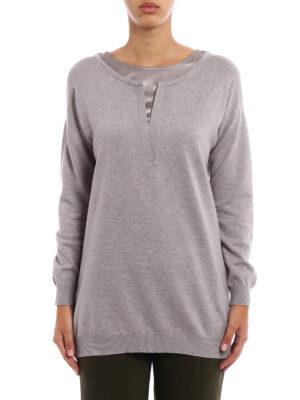 Fay: crew necks online - Silk sateen neckline wool sweater