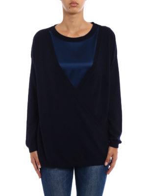 Fay: crew necks online - Silk sateen panelled wool sweater