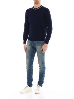 Fay: crew necks online - Stripe detailed cotton sweater