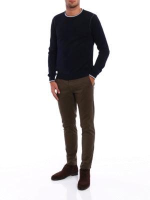 Fay: crew necks online - Stripe-trimmed wool sweater