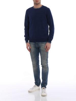 Fay: crew necks online - Striped neck and cuffs sweater