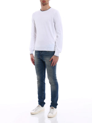 Fay: crew necks online - Sweater with striped neck and cuffs