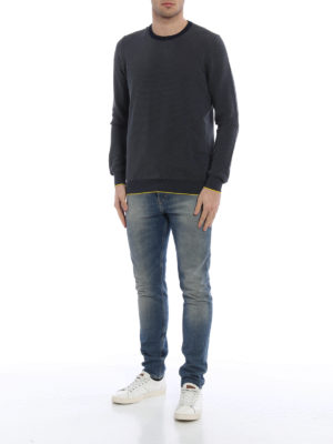 Fay: crew necks online - Textured cotton crewneck sweater