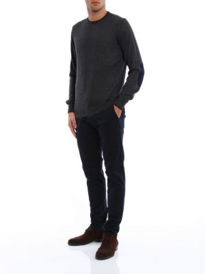 Fay: crew necks online - Wool sweater with elbow patches