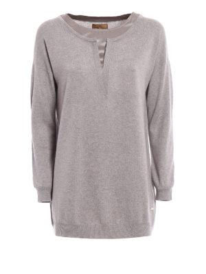 Fay: crew necks - Silk sateen neckline wool sweater