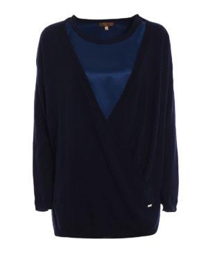Fay: crew necks - Silk sateen panelled wool sweater