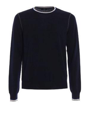 Fay: crew necks - Stripe-trimmed wool sweater