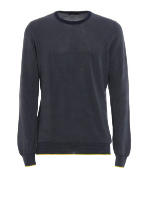 Fay: crew necks - Textured cotton crewneck sweater
