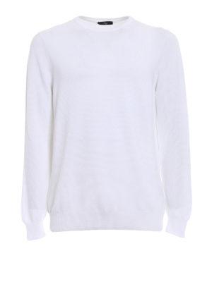 Fay: crew necks - White cotton crew neck sweater