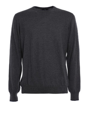 Fay: crew necks - Wool sweater with elbow patches