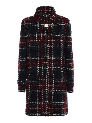 Fay: knee length coats - Chequered tweed coat