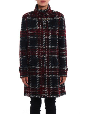 Fay: knee length coats online - Chequered tweed coat