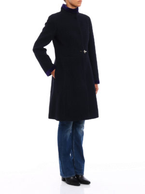 Fay: knee length coats online - Two-tone jacquard wool blend coat