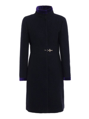 Fay: knee length coats - Two-tone jacquard wool blend coat