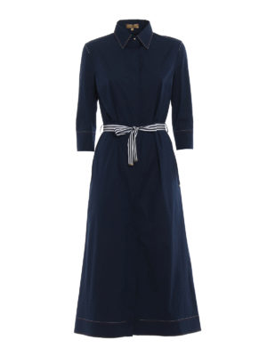 Fay: knee length dresses - Bon ton blue cotton shirt dress