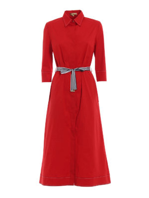 Fay: knee length dresses - Bon ton red cotton shirt dress