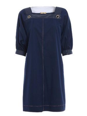 Fay: knee length dresses - Cotton poplin blue tunic dress