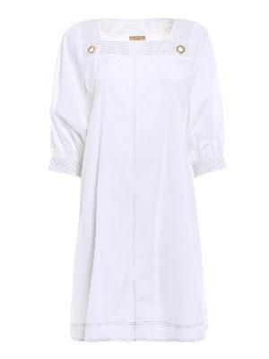 Fay: knee length dresses - Cotton poplin white tunic dress