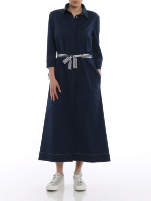 Fay: knee length dresses online - Bon ton blue cotton shirt dress