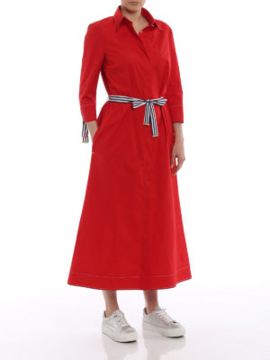 Fay: knee length dresses online - Bon ton red cotton shirt dress