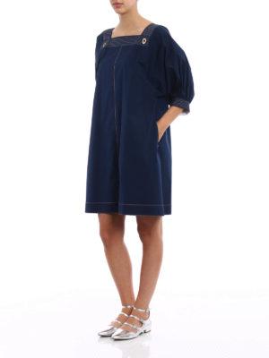 Fay: knee length dresses online - Cotton poplin blue tunic dress