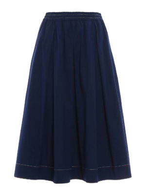 Fay: Knee length skirts & Midi - Cotton poplin flared midi skirt