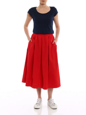 Fay: Knee length skirts & Midi online - Red cotton poplin flared midi skirt