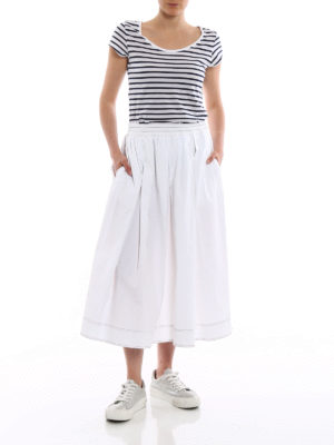 Fay: Knee length skirts & Midi online - White poplin flared midi skirt