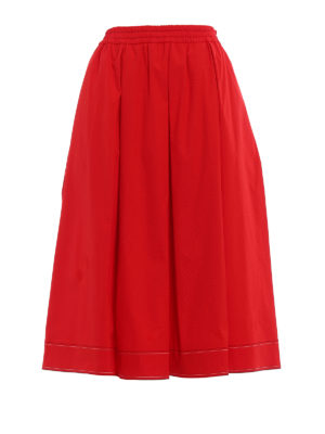 Fay: Knee length skirts & Midi - Red cotton poplin flared midi skirt