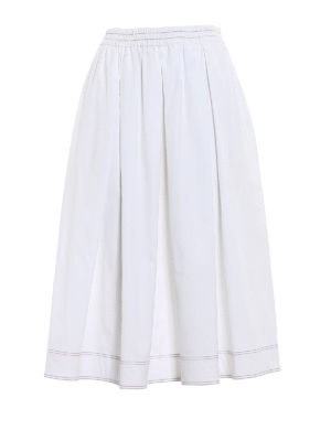 Fay: Knee length skirts & Midi - White poplin flared midi skirt
