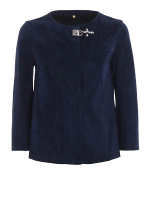 Fay: leather jacket - Soft suede crop jacket