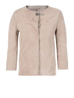 Fay: leather jacket - Soft suede crop jacket