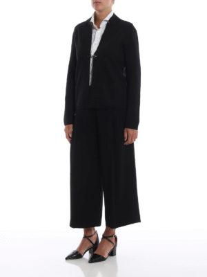 FAY: cardigan online - Cardigan nero in lana pettinata con un gancio