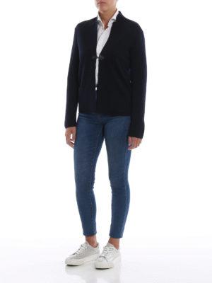 FAY: cardigan online - Cardigan blu in lana pettinata con un gancio