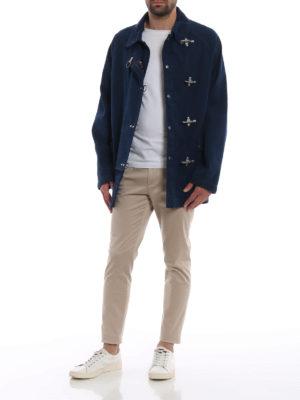 FAY: giacche casual online - Giaccone in tela di cotone blu