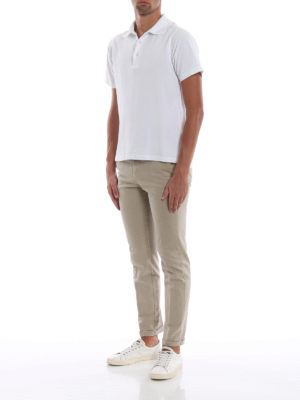 FAY: pantaloni casual online - Pantaloni beige in morbido cotone