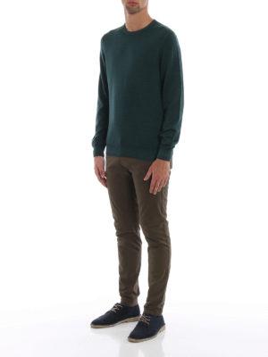 FAY: maglia collo rotondo online - Girocollo verde bosco in lana pettinata