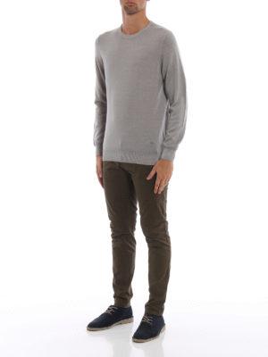 FAY: maglia collo rotondo online - Girocollo in lana pettinata greige