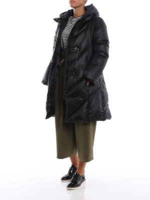 FAY: cappotti imbottiti online - Piumino in nylon nero con cappuccio blu
