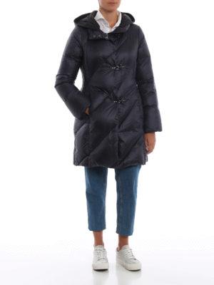 FAY: cappotti imbottiti online - Piumino in nylon blu con cappuccio nero