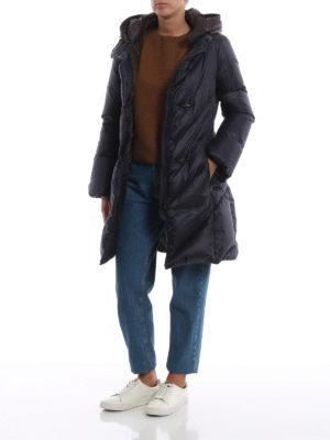 FAY: cappotti imbottiti online - Piumino blu scuro con cappuccio marrone
