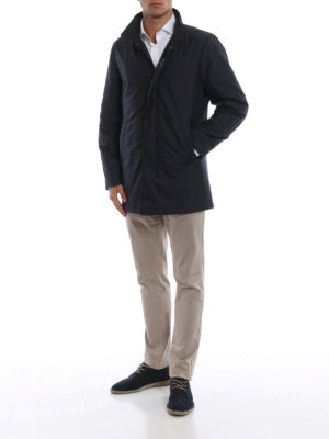FAY: cappotti imbottiti online - Cappotto imbottito in tessuto tecnico blu