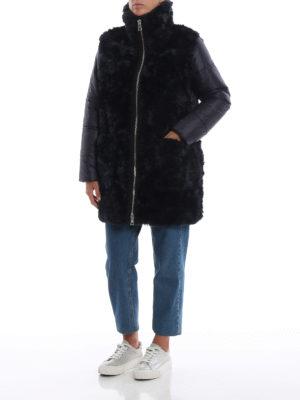 FAY: cappotti imbottiti online - Piumino in nylon ed ecopelliccia blu scuro