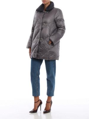 FAY: cappotti imbottiti online - Piumino grigio con collo blu a contrasto