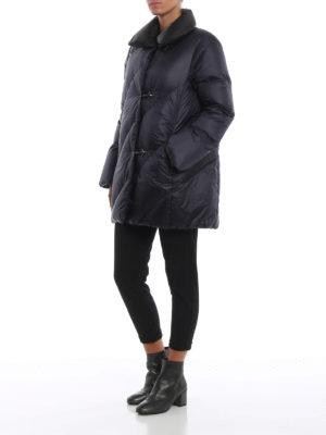 FAY: cappotti imbottiti online - Piumino blu scuro con collo nero a contrasto