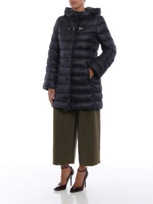 FAY: cappotti imbottiti online - Piumino in nylon blu con cappuccio avvolgente