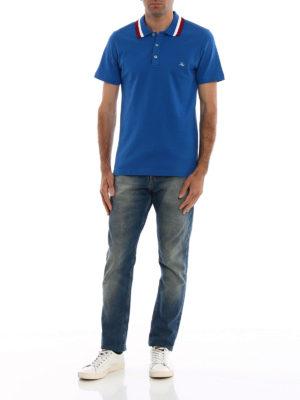 FAY: polo online - Polo blu colletto a contrasto